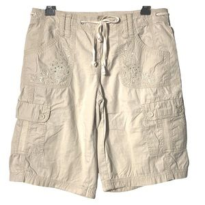 Style&Co. Shorts Cargo Embroidered Pockets Beige 4